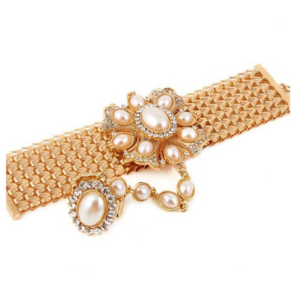 V G S Eternity Fashions Bracelet Ring Combo ~ Goldtone Brown Imitation Pearls Flower Hand Chain Slave Bracelet Ring Style BRRF08713-GIVUr