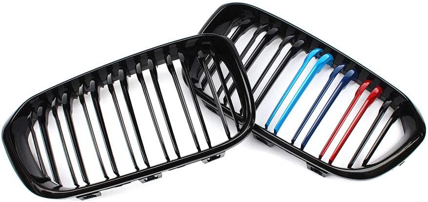 For F20 F21 1 Series 2015-IN Pair Double Slat Line Front Racing Grill Kidney Grill Grille Glossy Black