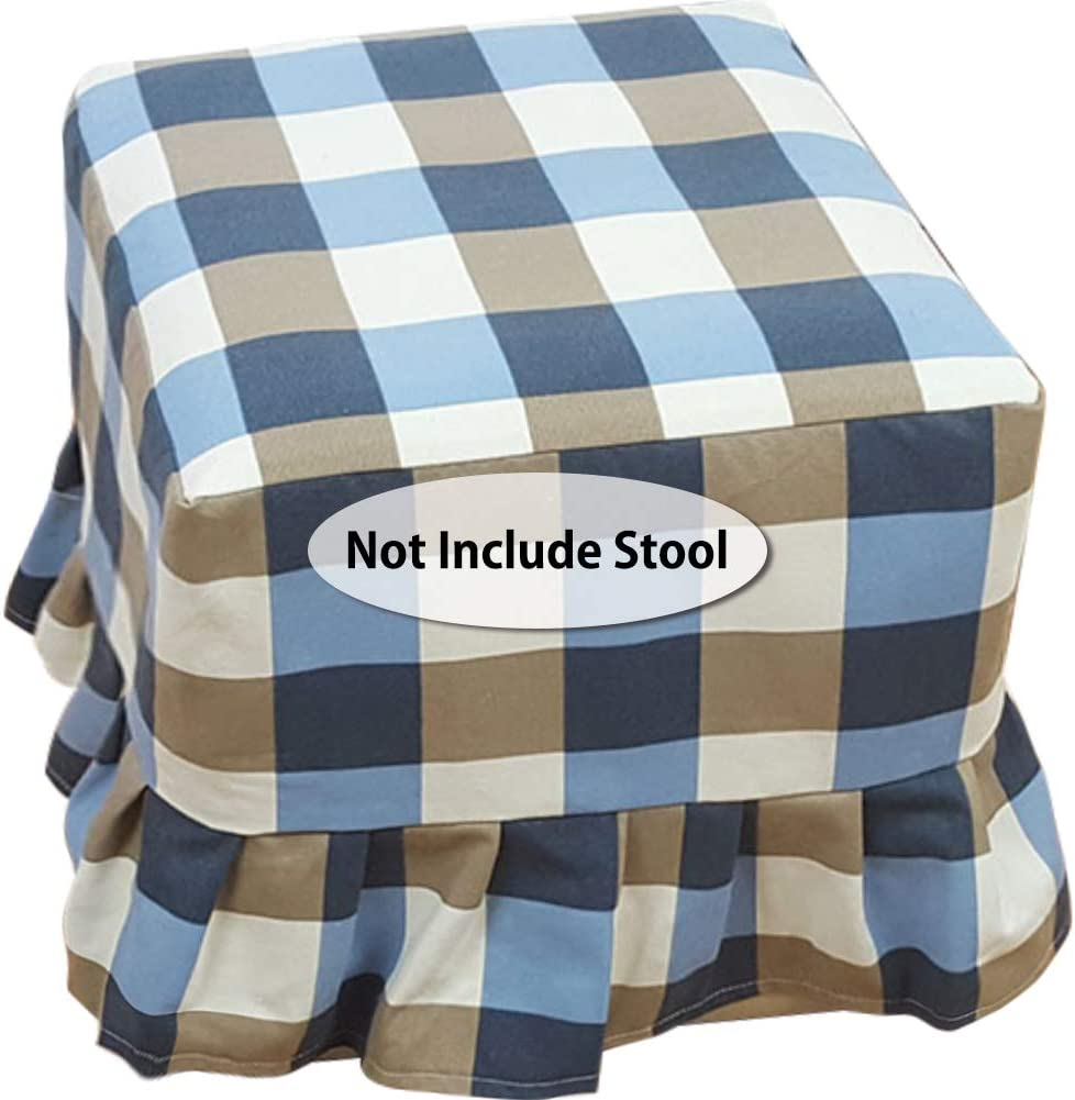 Amazon Com Mocohana Plaid Ottoman Cover Square With Skirt Drop Canvas Ottoman Slipcover Dustproof Footstool Furniture Protector For Home Decor 17 7 X 17 7 X 17 7 Inches Home Kitchen