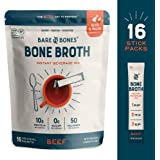 Bare Bones Bone Broth Instant Powdered Beverage Mix, Beef, 10g Protein, Keto & Paleo Friendly, 0.53oz, Pack of 16 Servings