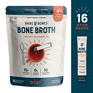 Bare Bones Bone Broth Instant Beverage Mix, Beef, 10g Protein, Keto & Paleo Friendly, 0.53oz, Pack of 16