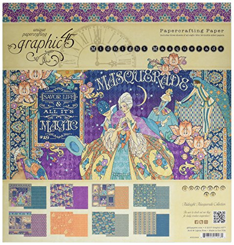 Graphic 45 4501549 Midnight Masquerade 12x12 Pad 12'X12
