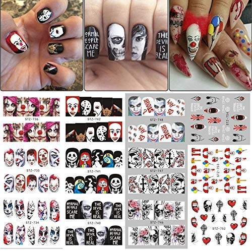 Halloween Gothic Nail Art Decals - 250+ Decals - Day of the dead killer clown nightmare before Christmas black widow zombie Nail Wrap by Southern Country Nails