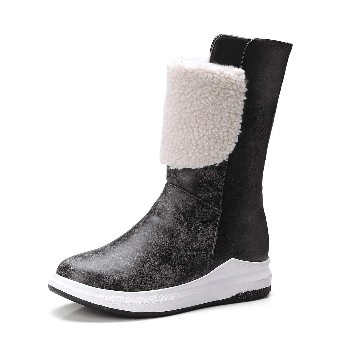 DANDANJIE Womens Snow Boots Casual Wedge Heel Fashion Ankle Boots Black Brown Fall /& Winter