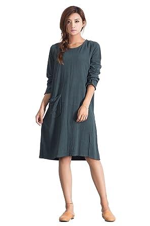 Sellse Womens Linen Cotton Loose Simple Large Bridesmaid Dress Plus