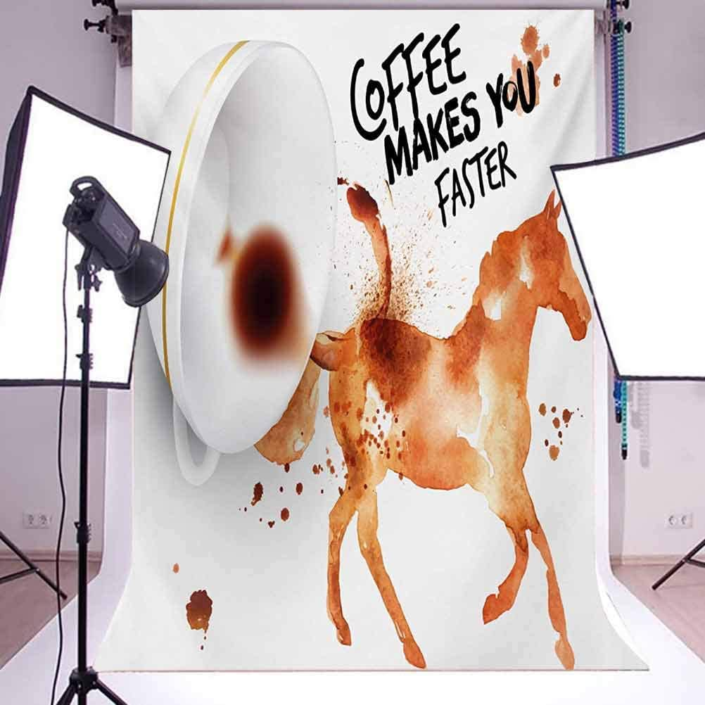 Coffee Art 10x12 FT Backdrop Photographers,Hand Drawn Style Horse Silhouette with Positive Life Message Messy Look Background for Photography Kids Adult Photo Booth Video Shoot Vinyl Studio Props