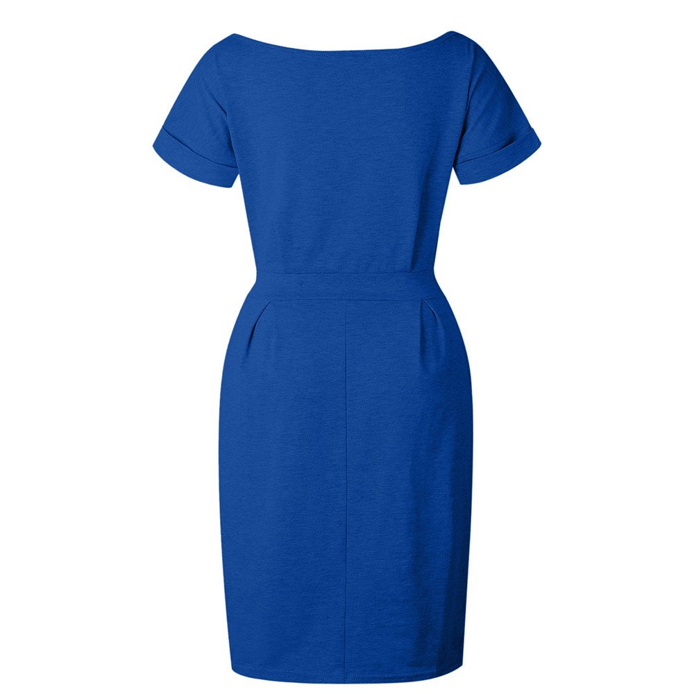 Womens Summer Solid Irregular Hem Short Sleeve Midi Dress Casual O-Neck T Shirt Dresses Beach Sundress with Belt