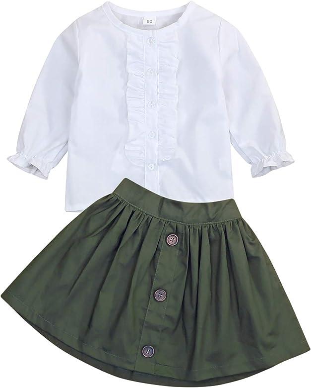 WOSENHK Baby Girls Skirts Set Newborn Girls Ruffled Short Sleeve Tops Button A-line Dress School Skirt Outfits