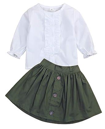 fc75dfc23 Little Girls 2 Piece Clothes Set Kids Fall School Oufits Ruffles Clean  White Shirt Buttons A