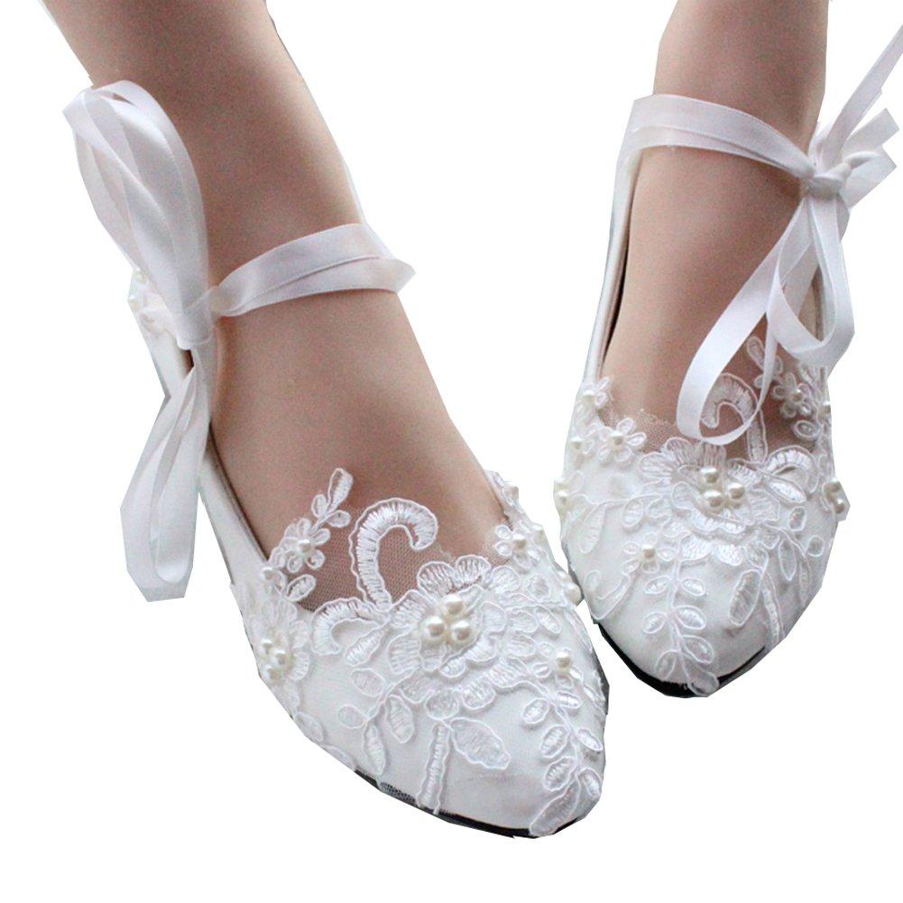 Getmorebeauty Women's Mary Jane Flats String Knot Dress Wedding Shoes 7 B(M) US