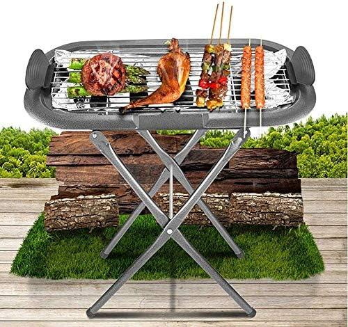 FANLIU Barbecue sans fumée de barbecue portable d'intérieur Bureau Have charbon et électriques Deux méthodes avec grillade Chrome Grill for Home Camping Voyage Randonnée