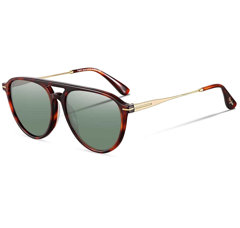1e14addb35 Amazon.com  EyeGlow Vintage Round Sunglasses Women Sunglasses Men Designers  5235 Acetate material(Amber vs green lens