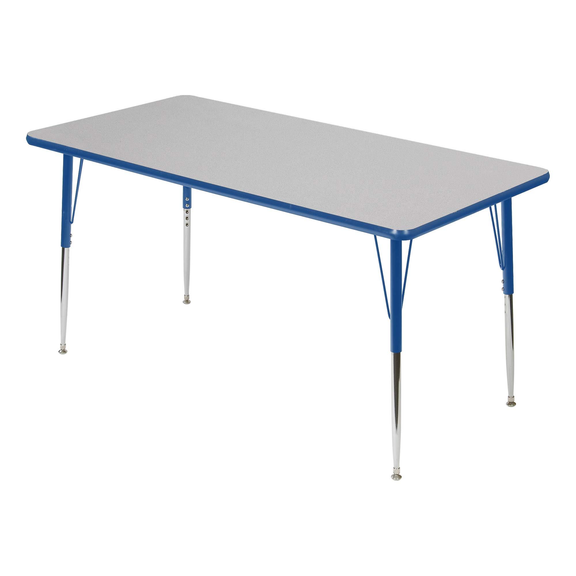 Rectangle Adjustable Height School Classroom Activity Table (30'' W x 72'' L) - Gray Nebula Top/Blue Edge
