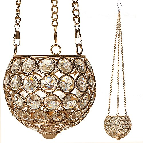 VINCIGANT Gold Crystal Hanging Candle Holders for Anniversary Celebration Decorations Modern Gifts,26.8 Inches Tall with Multi Colored Starry Copper Wire String Lights (Gold Multi Colored Crystal)