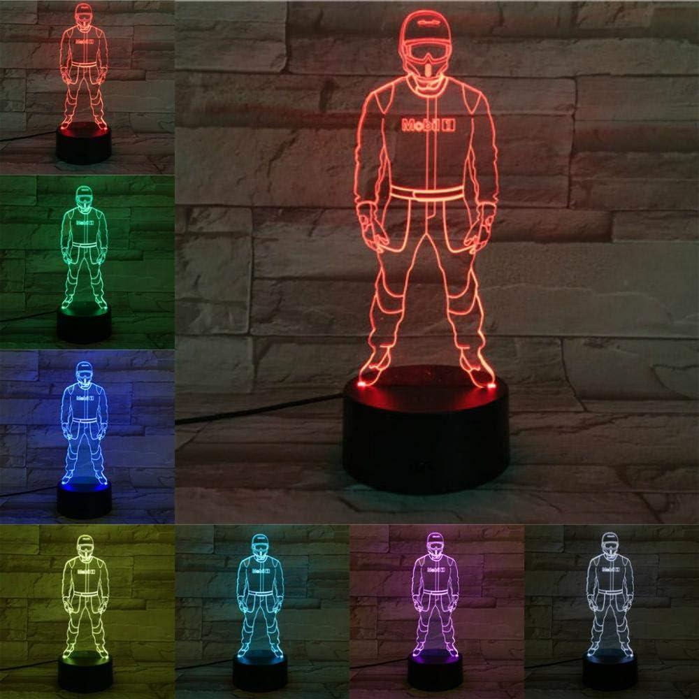 Solo 1 pieza Nigh Light Car Racing Driver Avigator 3D Lámpara Iluminación LED Bombilla Multicolor Fade Regalo de vacaciones para amigos Colección de fanáticos: Amazon.es: Iluminación