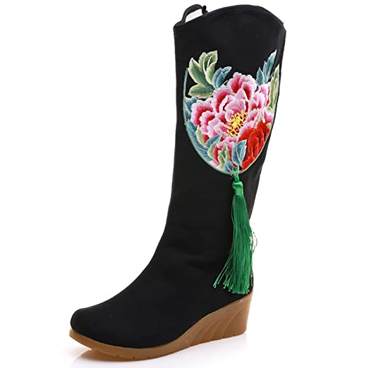 Winter Women Cotton Fabric 30cm High Mid-calf Boots 5cm Wedge Ladies Peacock Embroidered Shoes