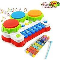 Gioco Musicale Tastiera, Strumenti Musicali Bambini, Pianoforte Bambino Xilofono Giocattolo con Martello e Palle per Bambino 1, 2, 3 Anni (Color 2)