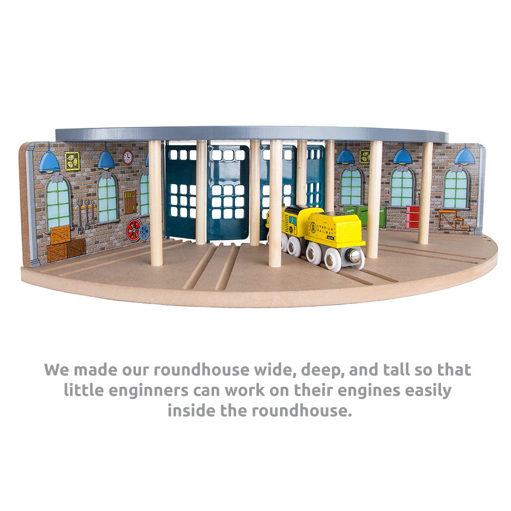 Orbrium Wooden Railway Roundhouse with Turntable Compatible with Thomas Wooden Railway System Brio Imaginarium Chuggington Melissa and Doug Engine Shed