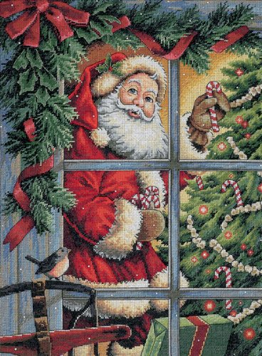 Dimensions Counted Cross Stitch Kit, Candy Cane Santa Christmas Cross Stitch, 16 Count Dove Grey Aida, 12'' x 16''