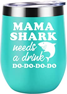 Mothers Day Gifts for Mom from Daughter, Son - Mama Shark Needs a Drink - Funny Mothers Day Gifts for Wife, Any Mom, New Mom, Mom to be - First Mothers Day Gifts - Coolife Mommy Shark Wine Tumbler Cup
