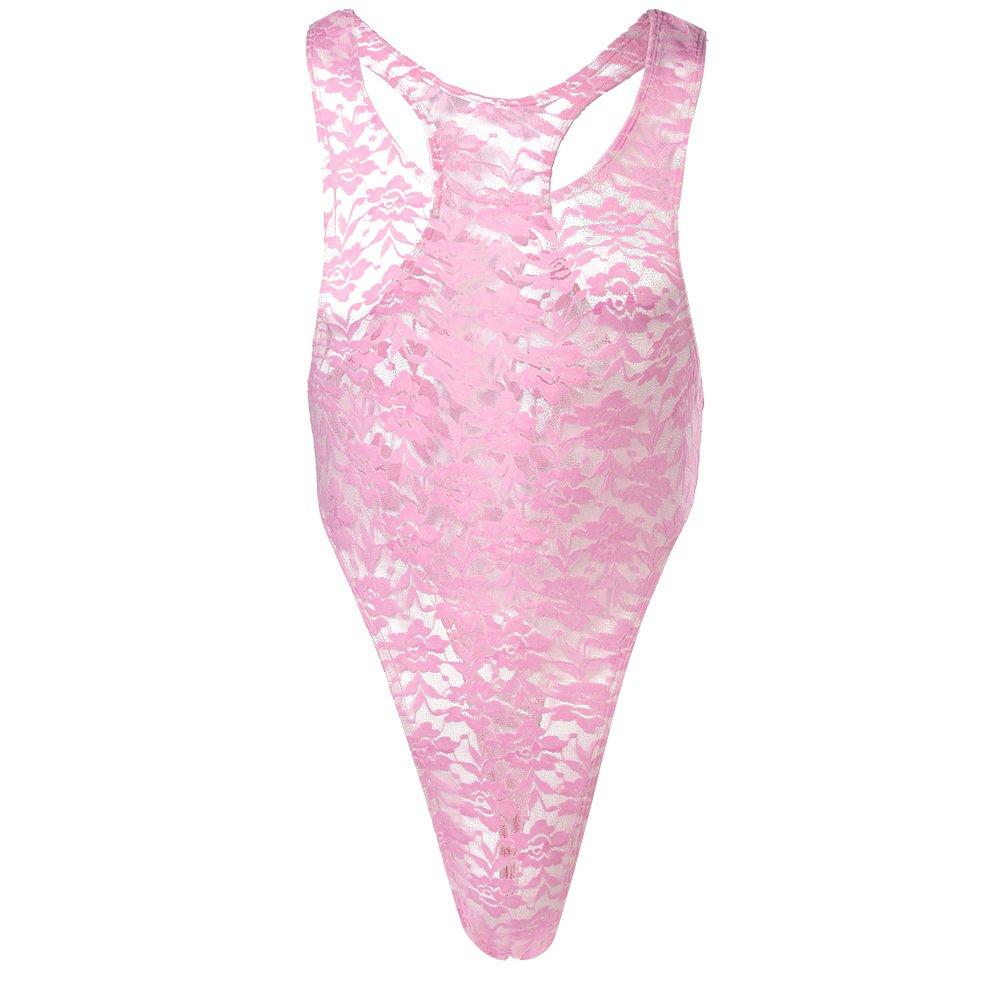 Sissy Mens Floral Lace High Cut Thong Leotard Bodysuit JumpsuitLingerie Underwear
