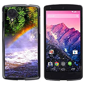 Paccase / SLIM PC / Aliminium Casa Carcasa Funda Case Cover - Nature Rainbow Falls - LG Google Nexus 5 D820 D821