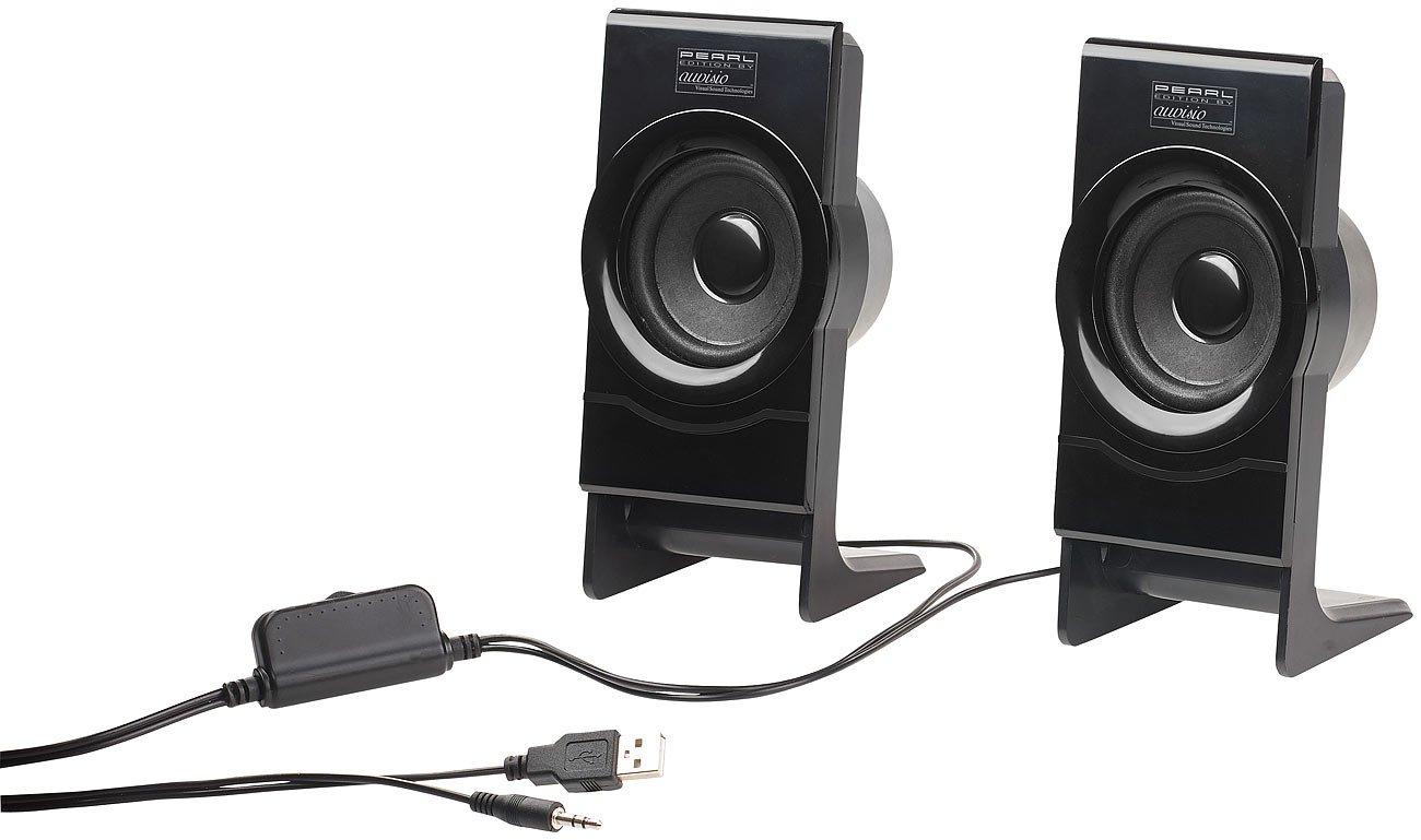 auvisio PC Box: Stereo-Lautsprecher MSX-100 mit USB-Stromversorgung, 15 Watt (PC-Lautsprecher-Systeme)