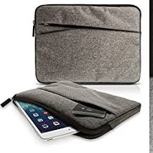 iGadgitz Grey Canvas Fabric Sleeve Pouch Case Cover with Front Pocket for Asus Transformer Pad T90 T100T, Book T101HA T100Chi TF103C TF303CL, MeMoPad 10, ZenPad Z8 (Fit Tablet WITHOUT Keyboard Only)