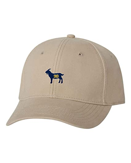 6ada81a4660 Adjustable Khaki Adult G.O.A.T. Curry  30 Goat Greatest of All Time Embroidered  Dad Hat Structured