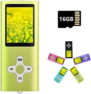 MP3 Player MP4 Player with a 16GB Micro SD Card, Runying Portable Music Player Support up to 64GB, Mini USB Port 1.8 LCD, with Photo Viewer, E-Book Reader, Voice Recorder & FM Radio Video(Green)