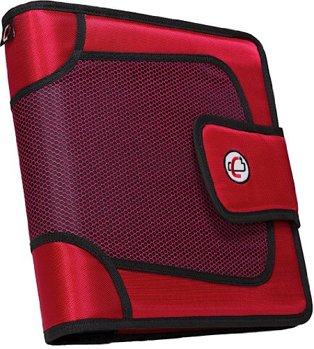Case-it Open Tab Hook Loop Closure 2-Inch Binder with Tab File, Red, S-816-RED