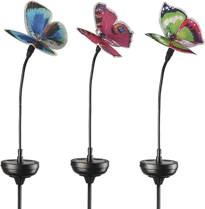 Solar Garden Lights Outdoor, 3 Pack Solar Stake Lights Multi-Color Changing LED, Fiber Optic Butterfly Decorative Lights, for Yard Decoration