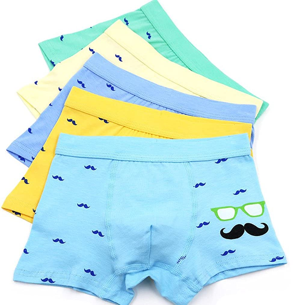 YUMILY 3-12 Years Old Boy Cartoon Mustache Boxer Brief Fun Underpant 5 Piece Packed CAETNK1801025