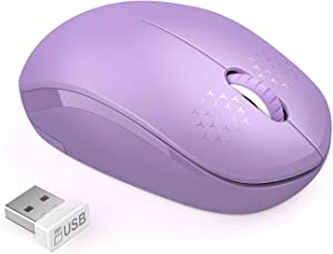 Wireless Mouse, 2.4G Noiseless Mouse with USB Receiver - seenda Portable Computer Mice Cordless Mouse for PC, Tablet, Laptop - Purple