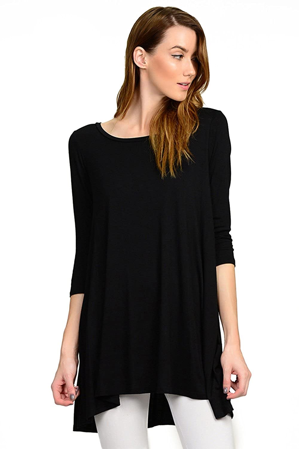 3/4 SLEEVES RAYON JERSEY A-LINE TUNIC TOP