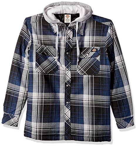 Dickies Men's Relaxed Fit Hooded Yarn Dye Plaid Shirt Jacket, Dark Denim, 4X (Dickies Mens Jacket Denim)