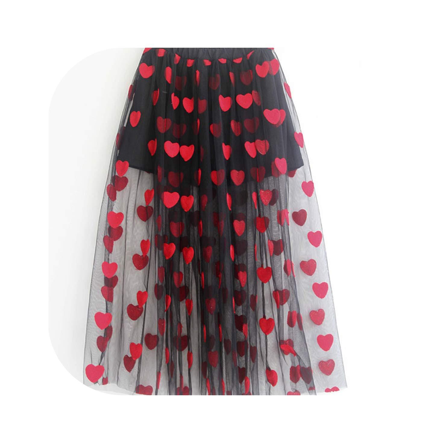 Embroidery Heart Pattern Teenage Skirt for Girls Summer Mesh Tulle Black Toddler Girl Skirts Children Shorts