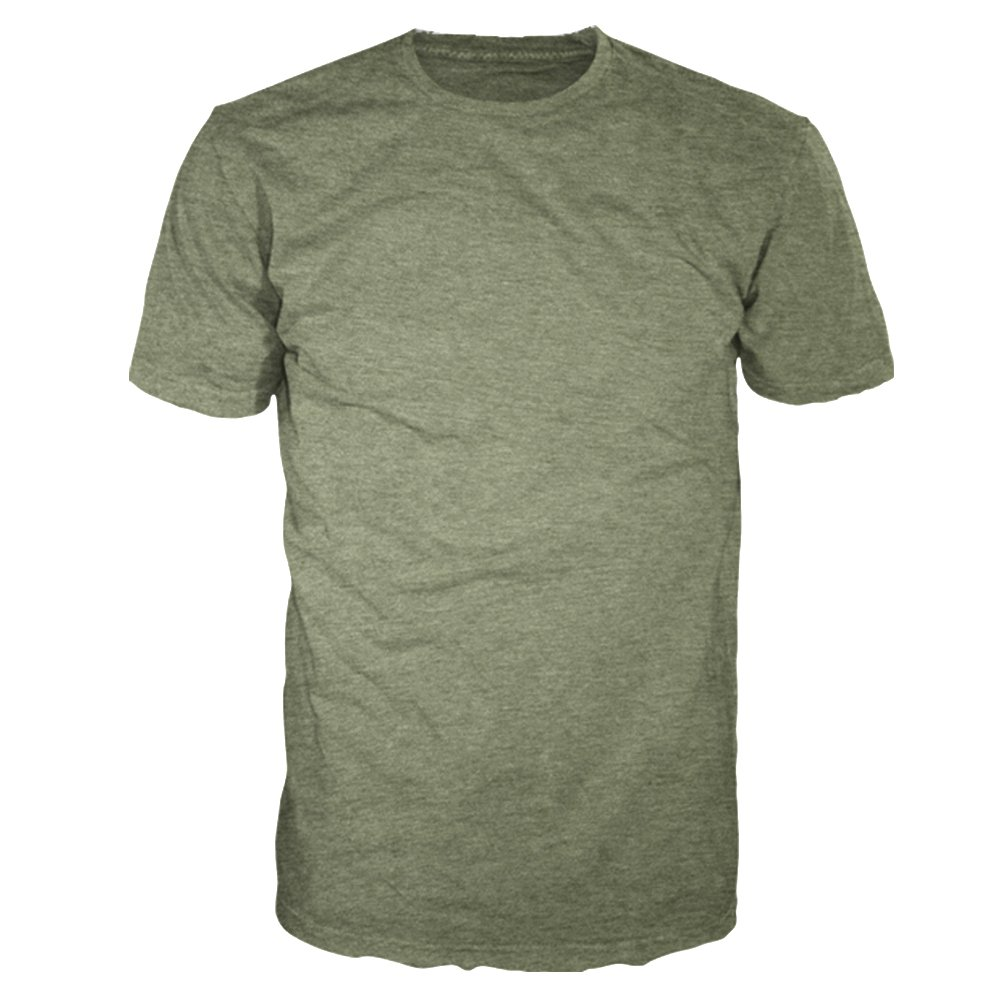 Men's Signature Collection - Casual Premium Soft Cotton Short Sleeve T-Shirts Classic Crew Neck Style by Four Seasons Design (Military Heather, Large)