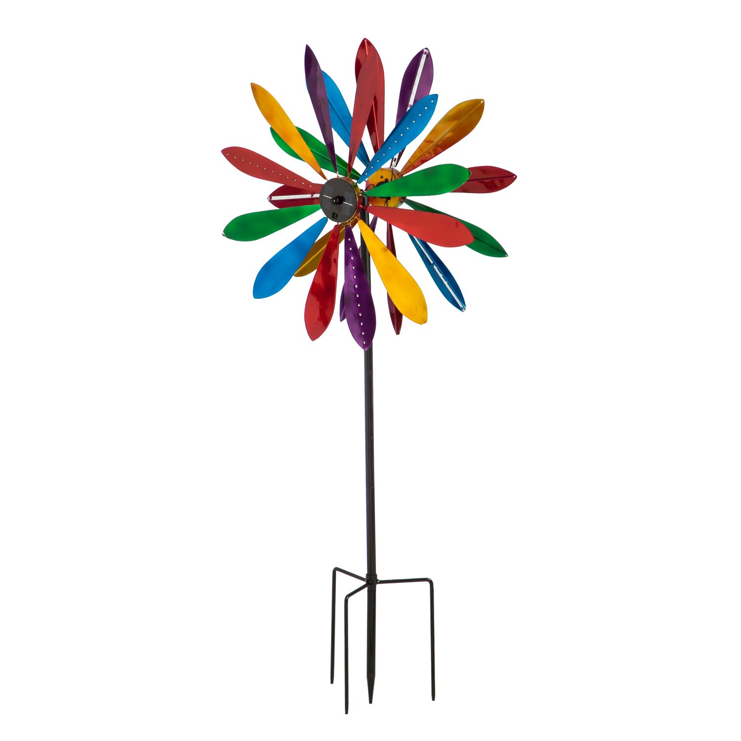 Evergreen 77-inch Color Explosion Chasing Lights Outdoor Safe Solar Kinetic Wind Spinner Garden Stake by Evergreen Garden