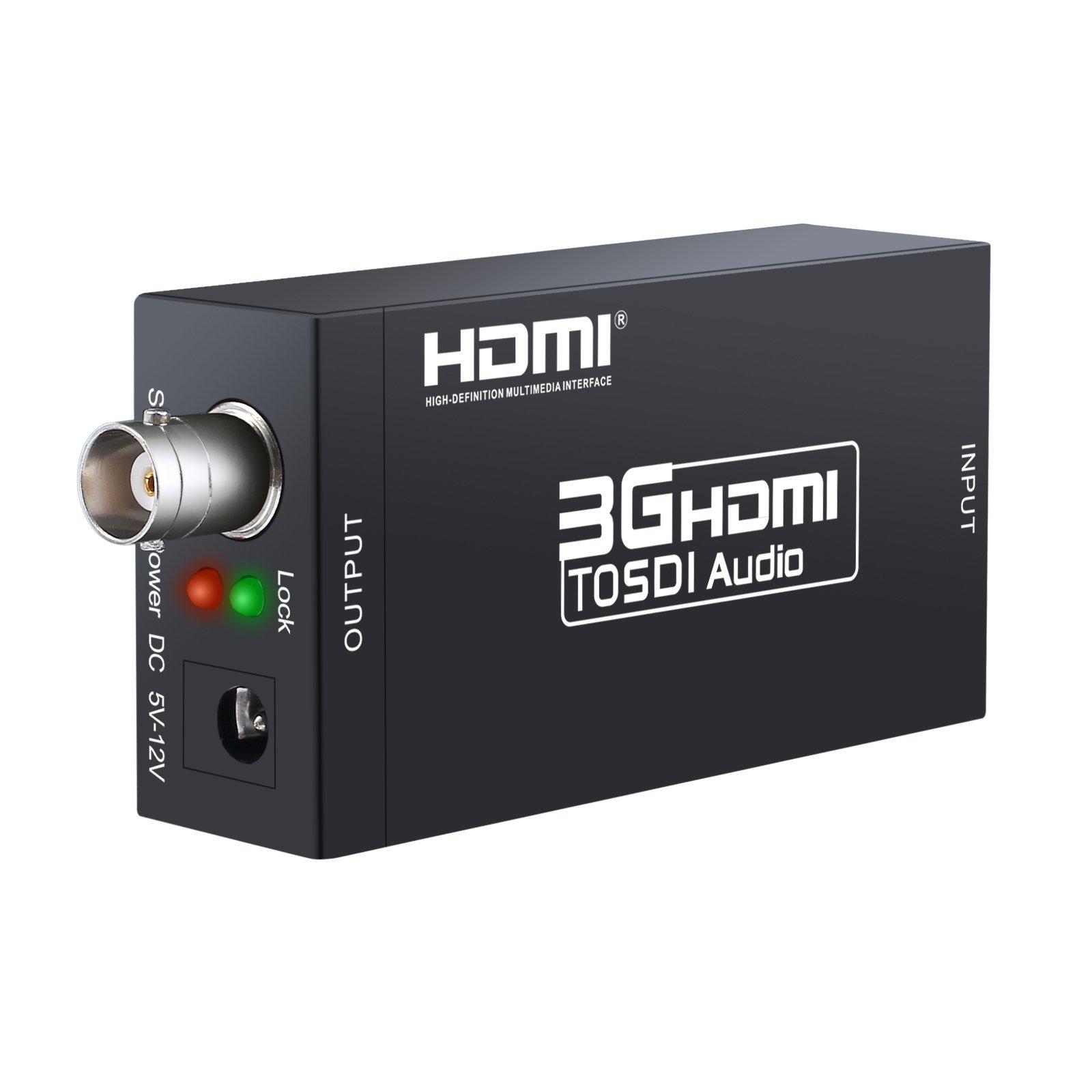 eSynic HDMI to SDI Converter Adapter HDMI SDI Adapter Full HD 1080P Audio Converter Support SDI/HD-SDI/3G-SDI Signals for Camera Home Theater by eSynic