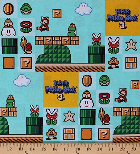Cotton Super Mario Brothers 3 Video Games Gaming Nintendo Kids Children's Blue Cotton Fabric Print by the Yard (59417-A620715)