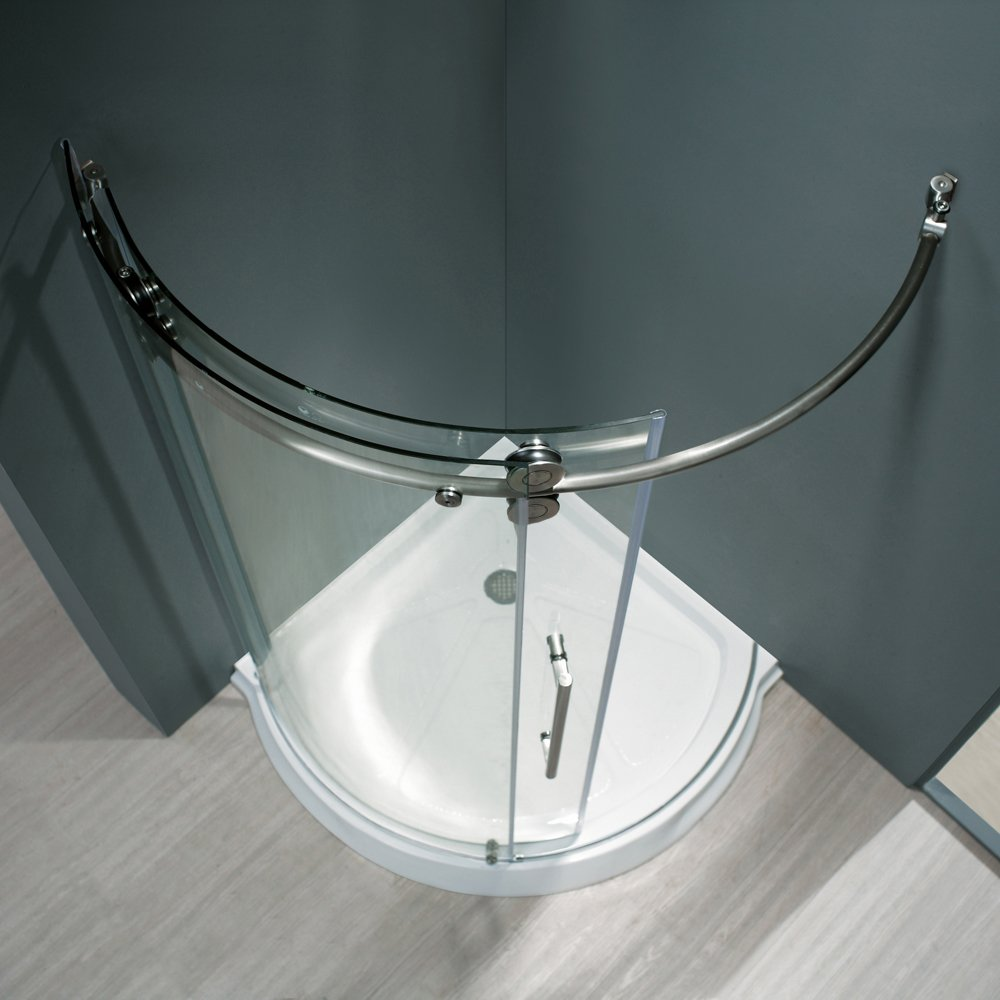 VIGO Sanibel 40 x 40-in. Frameless Round Sliding Shower Enclosure ...