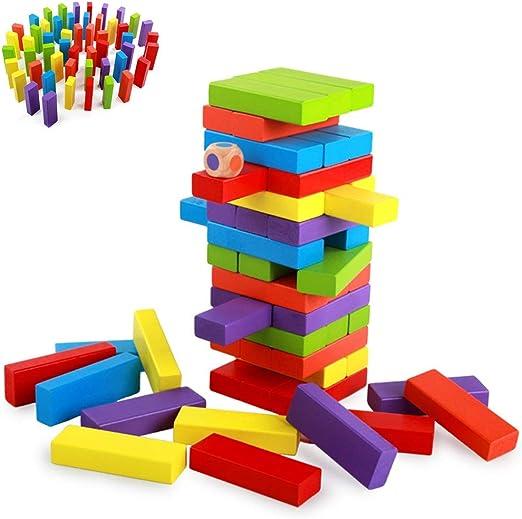Jenga Classic Tumbling Timber Toy Juegos de Mesa de Apilamiento de Madera Juego de Piso de Bloques de Madera for Niños y Adultos Juguetes Educativos Divertidos Bloques de Construcción de Colores: Amazon.es: