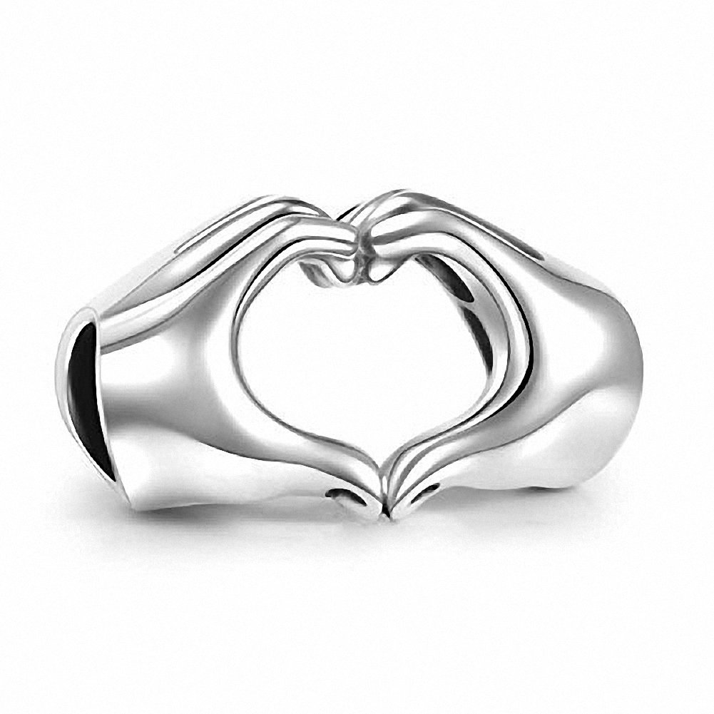 Hoobeads Love Heart Hands Charm Bead-Fingers With Hearts Sterling Silver 925 Charms for European Bracelet by Hoobeads