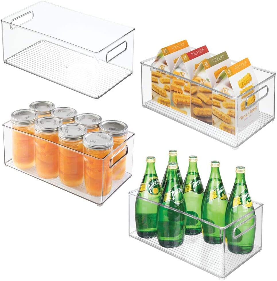 mDesign Set of 4 Practical Refrigerator Organiser Boxes - Storage Tray for The Kitchen - Ideal Storage Box with Handles - Clear