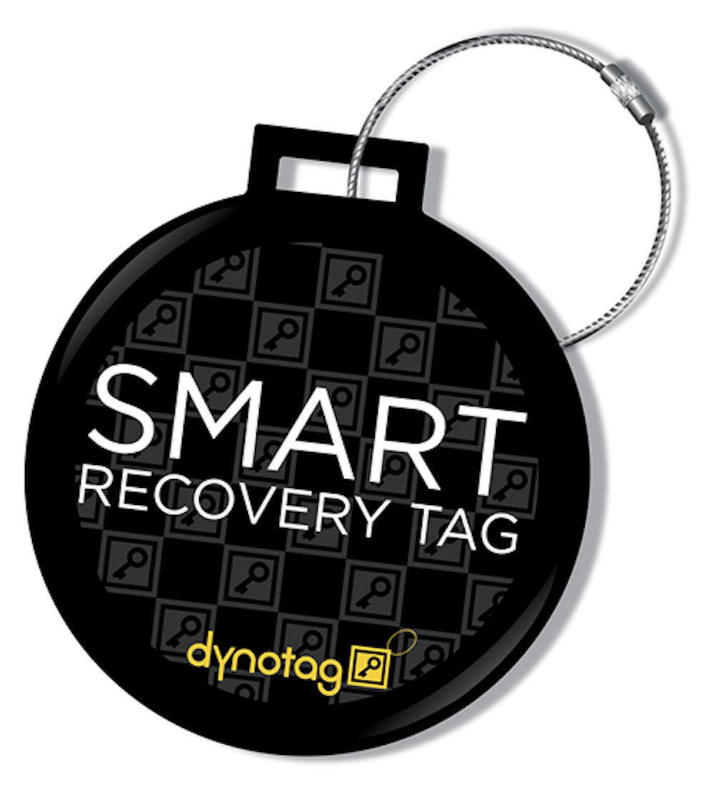 Dynotag® Web/GPS Enabled QR Smart Deluxe Steel Luggage Tag & Braided Steel Loop (Round Dots) DLX-SLT