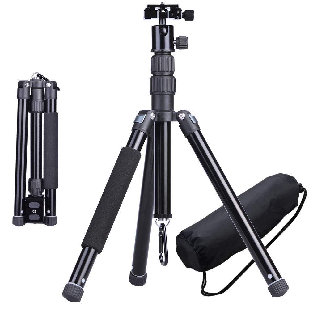 CHIHEISENN Professional Travel Compact Lightweight Aluminum Alloy Tripod Kit with Ball Head,Quick Release Plate,Aluminum Legs,Carring Bag,Phone Holder for DSLR Camera, Video Camcorder, Cellphoe by CHIHEISENN