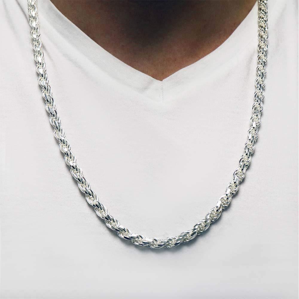 Mens Italian 925 Sterling Silver Damond Cut Rope Chain Necklace, 5MM, 6MM, 7.5MM,8.5MM- Mens Rope Chain, Sterling Silver Rope Chain Necklace For Men, Mens Rope Chain Bracelet by Verona Jewelers (Image #3)