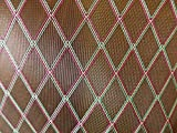 dpaerofly 1Yard Grill Cloth Fabric Oxblood & Red/Yellow/Green Diamond