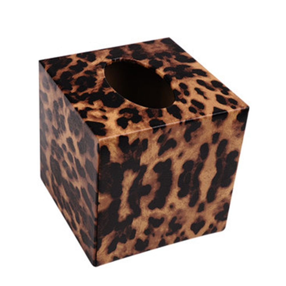 S Forever Home Decor Chic Kleenex Box Holders PU Leather Square Tissue Box Cover (Leopard)